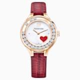 Lovely Crystals Mini Saat, Deri kayış, Kırmızı, Rose Altın tonu - Swarovski, 5297584