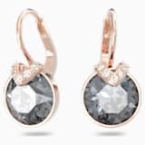 Bella V Pierced Earrings, Grey, Rose-gold tone plated - Swarovski, 5299317
