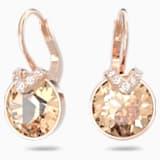 Bella V İğneli Küpeler, Pembe, Pembe altın rengi kaplama - Swarovski, 5299318