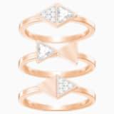 Heroism Ring Set, White, Rose-gold tone plated - Swarovski, 5301507
