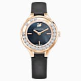 Lovely Crystals Mini Watch, Leather strap, Black, Rose-gold tone PVD - Swarovski, 5301877