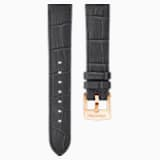 18mm Watch strap, Leather with stitching, Dark gray, Rose-gold tone plated - Swarovski, 5302460