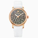 Crystalline Hours Watch, Leather strap, White, Rose-gold tone PVD - Swarovski, 5344635