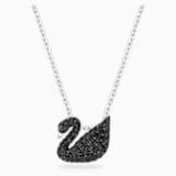 Colgante Swarovski Iconic Swan, negro, Baño de Rodio - Swarovski, 5347330
