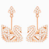 Facet Swan Pierced Earrings, White, Rose-gold tone plated - Swarovski, 5358058