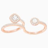 Angelic Pearl Double Ring, White, Rose-gold tone plated - Swarovski, 5362584