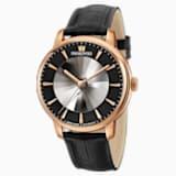 Automatické pánské hodinky limitované edice Atlantis, s koženým páskem, černé, PVD v odstínu růžového zlata - Swarovski, 5364212