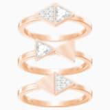 Heroism Ring Set, White, Rose-gold tone plated - Swarovski, 5366568