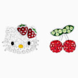 Hello Kitty Fruit 穿孔耳環, 多色設計, 鍍白金色 - Swarovski, 5368973