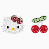 Hello Kitty Fruit Pierced Earrings, Multi-colored, Rhodium plated - Swarovski, 5368973