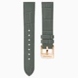 20 mm-es óraszíj, varrott bőr, szürke, rozéarany árnyalatú bevonattal - Swarovski, 5371982