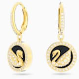 Leather Swan Pierced Earrings, White, Gold-tone plated - Swarovski, 5374918