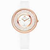 Crystalline Pure Watch, Leather strap, White, Rose-gold tone PVD - Swarovski, 5376083