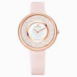 Crystalline Pure Часы, Кожаный ремешок, Розовый Кристалл, PVD-покрытие оттенка розового золота - Swarovski, 5376086