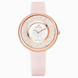 Crystalline Pure Watch, Leather strap, Pink, Rose-gold tone PVD - Swarovski, 5376086