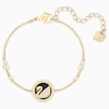 Leather Swan Bracelet, White, Gold-tone plated - Swarovski, 5376481