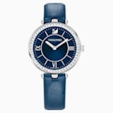 Aila Dressy Lady Watch, Leather strap, Blue, Stainless steel - Swarovski, 5376633