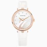 Aila Dressy Lady Swan Watch, Leather strap, White, Rose-gold tone PVD - Swarovski, 5376639