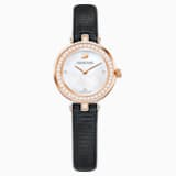 Aila Dressy Mini Watch, Leather strap, Black, Rose-gold tone PVD - Swarovski, 5376642