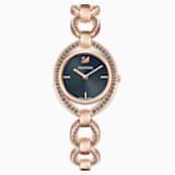 Montre Stella, Bracelet en métal, gris foncé, PVD doré rose - Swarovski, 5376806