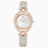 Reloj Stella, Correa de piel, gris, PVD en tono Oro Rosa - Swarovski, 5376830