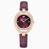 Stella-horloge, Leren horlogebandje, Donkerrood, Roségoudkleurig PVD - Swarovski, 5376839