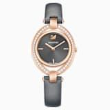 Stella Часы, Кожаный ремешок, Тёмно-серый Кристалл, PVD-покрытие оттенка розового золота - Swarovski, 5376842