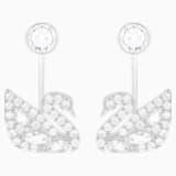 Swan Lake Pierced Earring Jackets, White, Rhodium plated - Swarovski, 5379944