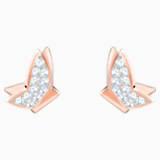 Lilia Pierced Earrings, White, Rose-gold tone plated - Swarovski, 5382367