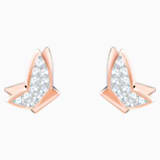 Lilia Pierced Earrings, White, Rose-gold tone plated - Swarovski, 5382367
