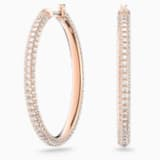 Stone Hoop Pierced Earrings, Pink, Rose-gold tone plated - Swarovski, 5383938