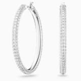 Stone Hoop Pierced Earrings, White, Rhodium plated - Swarovski, 5389432