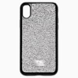 Etui na smartfona Glam Rock z ramką chroniącą przed uderzeniem, iPhone® X/XS, szare - Swarovski, 5392053