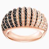 Luxury Domed 戒指, 黑色, 镀玫瑰金色调 - Swarovski, 5406950