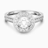 Attract Round 戒指, 白色, 镀铑 - Swarovski, 5409187