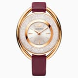 Crystalline Oval Watch, Fabric strap, Dark red, Rose-gold tone PVD - Swarovski, 5409199
