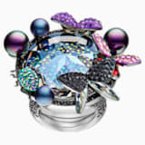 Magnetized Cocktail Ring, Multi-colored, Black Ruthenium plated - Swarovski, 5410997