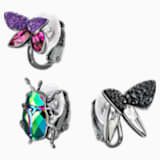 Magnetized Clip Earrings Set, Multi-colored, Black Ruthenium plated - Swarovski, 5411009