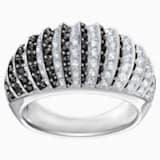 Luxury Domed Ring, Black, Rhodium plating - Swarovski, 5412018