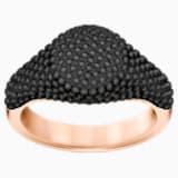 Anillo Stone Signet, negro, Baño en tono Oro Rosa - Swarovski, 5412036