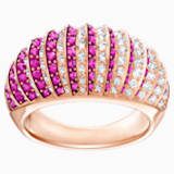 Luxury Domed 戒指, 粉红色, 镀玫瑰金色调 - Swarovski, 5412052