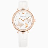 Aila Dressy Lady Butterfly Watch, Leather strap, White, Rose-gold tone PVD - Swarovski, 5412364