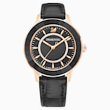 Octea Lux Watch, Leather strap, Black, Rose-gold tone PVD - Swarovski, 5414410