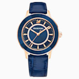 Octea Lux Watch, Leather strap, Blue, Rose-gold tone PVD - Swarovski, 5414413
