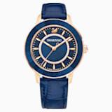 Zegarek Octea Lux, pasek ze skóry, niebieski, powłoka PVD w odcieniu różowego złota - Swarovski, 5414413