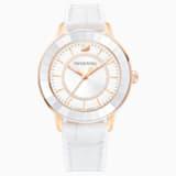 Octea Lux Watch, Leather strap, White, Rose-gold tone PVD - Swarovski, 5414416