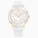 Octea Lux Watch, Leather strap, White, Rose-gold tone PVD - Swarovski, 5414416
