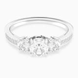 Anillo Attract Trilogy Round, blanco, Baño de Rodio - Swarovski, 5414972
