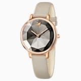 Crystal Lake Watch, Leather strap, Gray, Rose-gold tone PVD - Swarovski, 5415996