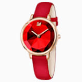 Crystal Lake-horloge, Leren horlogebandje, Rood, Roségoudkleurig PVD - Swarovski, 5415999